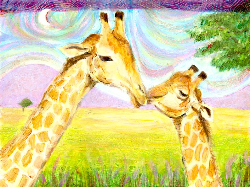 Mom and Baby Giraffe  Fine Art Print  Kids Wall Art  Nursery 8 x 10 inches