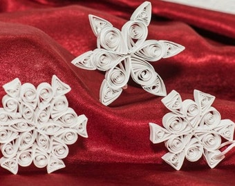 Set of Three Paper Quilled Snowflake Ornaments for Winter Holiday of your choice