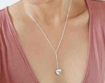 Delicate Rosary Necklace with Heart Locket