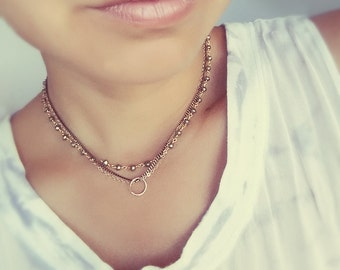 Pyrite Rosary Bead Choker Style Necklace