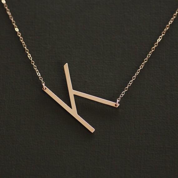 sideways letter necklace rose gold large letter necklace