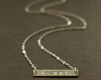 Roman Numeral Necklace - Wedding Date Necklace Name Necklace - Sterling Silver