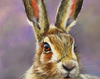 Hare's Looking at you Too  Mounted A4 Giclee Print of original pastel painting