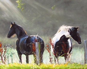 Horses in the Mist Limited edition Giclee print of an original painting