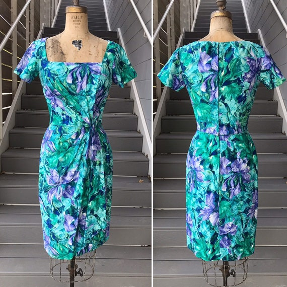 Designer 1950s Ceil Chapman Teal + Purple Dress.