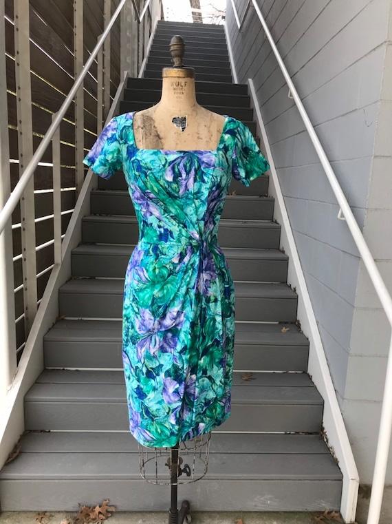 Designer 1950s Ceil Chapman Teal + Purple Dress. - image 2