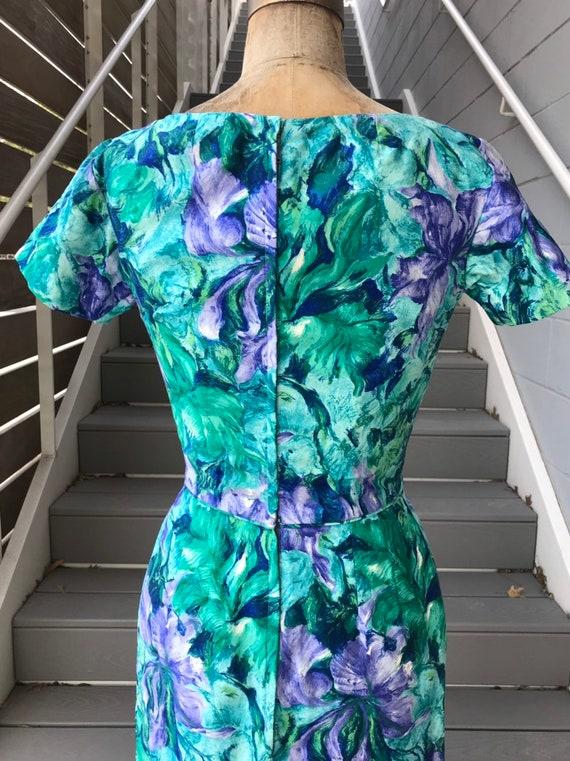 Designer 1950s Ceil Chapman Teal + Purple Dress. - image 6