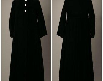 1960s Black Velvet Opera Coat with Rhinestone Buttons