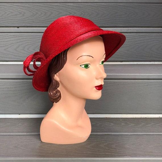 1960s Red Straw Hat | Adolfo Sun Hat