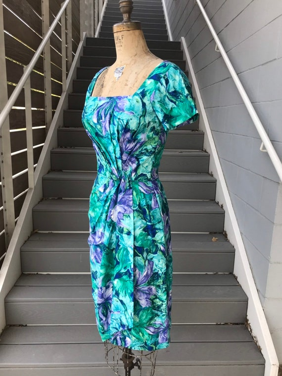 Designer 1950s Ceil Chapman Teal + Purple Dress. - image 4