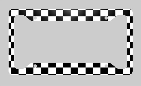 Black And White Checkered License Plate Frame Etsy
