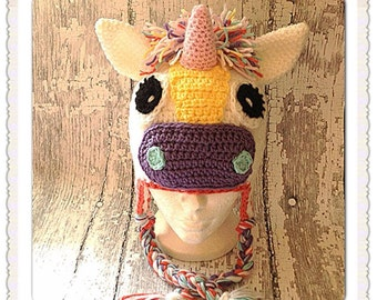 MADE TO ORDER, Crochet Unicorn hat, newborn to adult sizes
