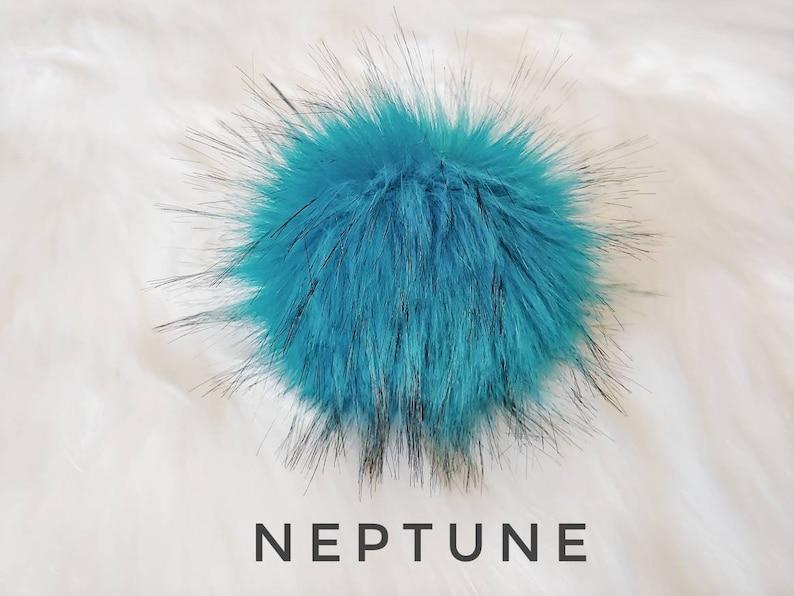 Super Luxury Blue Neptune Faux Fur PomPoms, handmade, accessory , vegan,  cruelty free, large Poms 5 inch, XL 6