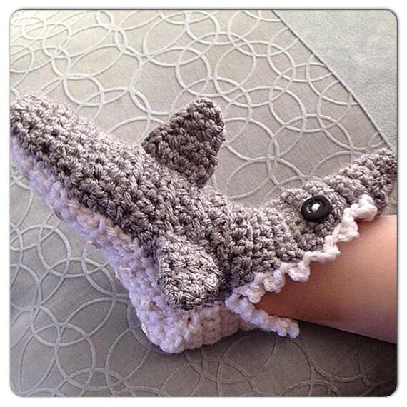 Häkeln Sie Baby Hai Pantoffel Socken Mit Zähnen Und Flossen Etsy