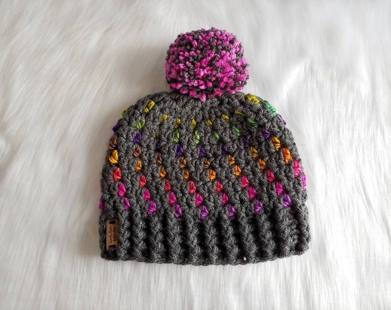 67d18b2a3e7 Crochet Northern Lights Beanie child size winter hat