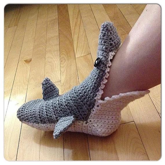 Crochet Shark Slipper Booties Socks Adult Menwomens Etsy