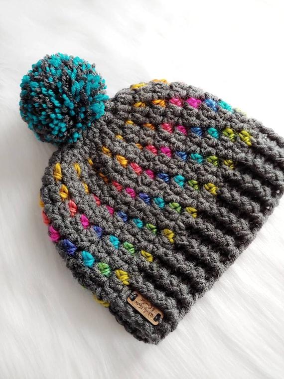 chunky knit rainbow Crochet Northern Lights Beanie Pompom Adult size winter hat