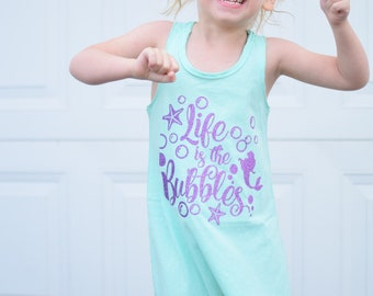 6dc35d1aba8f5 Life is the Bubbles Little Girls Mermaid Fringe Dress Bathing Suit Beach  Cover Up Tank Top baby kids toddler