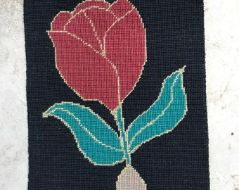 Needlepoint Canvas - Red Tulip - Ready for Sewing/Framing