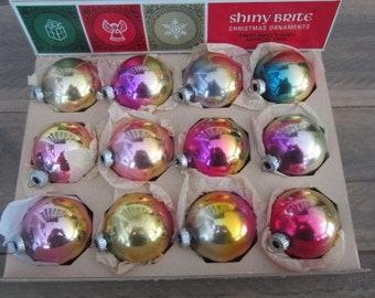 Vintage Colorful Shiny Brite Ombre Ornaments Glass Ombre Christmas Tree Ornaments Vintage Shiny Brite