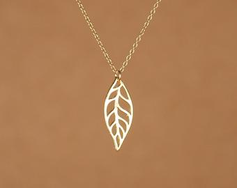 Leaf necklace - gold leaf - petal necklace - nature jewelry - organic - a gold vermeil leaf of a 14k gold vermeil chain
