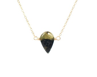 Tourmaline drop necklace, energy necklace, green tourmaline pendant, dainty gold necklace, healing crystal jewelry, teardrop gemstone