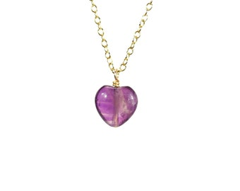 Amethyst heart necklace, crystal necklace, February birthstone, love necklace, purple crystal pendant, dainty necklace, healing stone