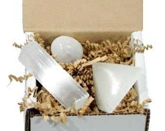 Selenite crystal gift set, selenite pyramid healing crystal, natural stone gift box, reiki crystals, chakra, box of crystals, gift under 20