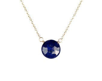 Lapis necklace - december birthstone - blue lapis lazuli necklace - a faceted round lapis wire wrapped onto a 14k gold vermeil chain