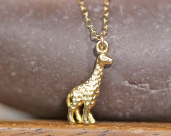 Gold giraffe necklace, safari animal pendant, animal pendant, baby giraffe pendant, animal lover necklace, cute gift idea