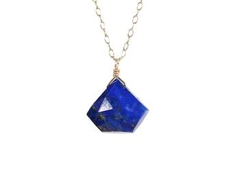 Lapis lazuli necklace, diamond shape pendant necklace, December birthstone,  blue gemstone pendant, something blue, geometric necklace