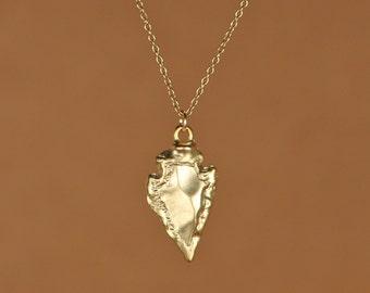 Gold arrowhead necklace - arrow head necklace - gold spike - spike necklace - a 22k gold overlay arrowhead on a 14k gold vermeil chain