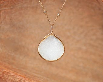 White druzy necklace - teardrop necklace - gold filled satellite chain necklace - raw crystal necklace
