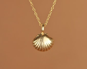 Shell necklace - gold shell necklace - sea shell - beach necklace - summer jewelry - a 22k gold overlay sea shell on 14k gold vermeil chain