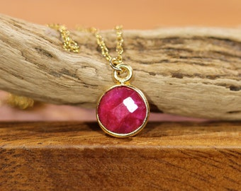 Red ruby necklace, July birthstone, gold ruby jewelry, red gemstone, everyday necklace, gift for mom, layering necklace, healing crystal
