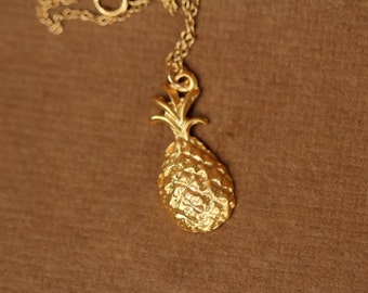 Pineapple necklace - gold pineapple necklace - tropical necklace - a sweet little gold pineapple on a 14k gold vermeil chain