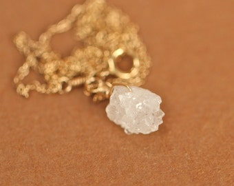 Crystal necklace - druzy necklace - raw crystal necklace - healing crystal - a rough and raw crystal quartz on 14k gold vermeil chain