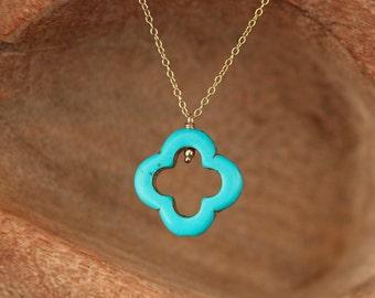 Clover necklace - quatrefoil necklace - turquoise pendant necklace - good luck charm - a turquoise clover on a 14k gold vermeil chain