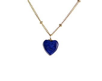 Lapis necklace - heart necklace - december birthstone - blue necklace - a blue heart on a 14k gold vermeil chain