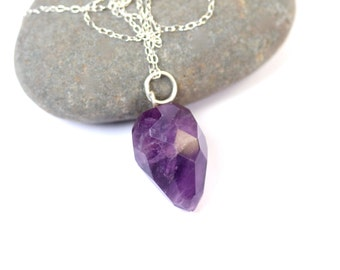Pendulum necklace - amethyst necklace - february birthstone - crystal necklace - a faceted amethyst pendulum on a sterling silver chain