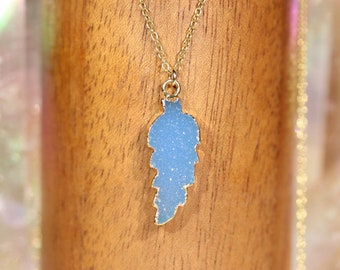 Druzy leaf necklace - gold leaf necklace - druzy necklace - baby blue crystal - nature jewelry