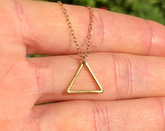 Triangle necklace in gold, everyday necklace, dainty necklace, geometric necklace, layering necklace, minimalist necklace, triangle pendant