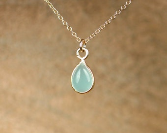 Chalcedony necklace - tiny drop necklace -  healing crystal - blue chalcedony - a drop of gold lined chalcedony on a 14k gold vermeil chain