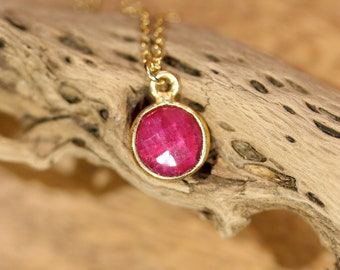 Red ruby necklace, July birthstone, ruby jewelry, red crystal necklace, everyday necklace, layering necklace, gift for mom, delicate chain