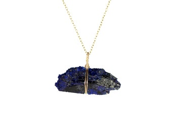Azurite necklace - druzy necklace - bar necklace - crystal necklace - mineral - cobalt blue - a raw azurite bar on a 14k gold vermeil chain