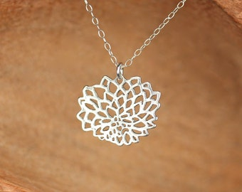 Lotus necklace - blooming flower necklace - yoga jewelry - flower outline - a gold lotus flower charm on a 14k gold vermeil chain