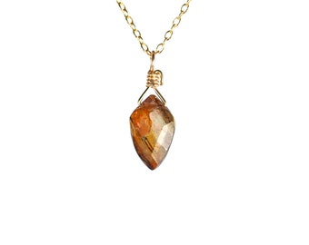 Tourmaline necklace - crystal necklace - dravite necklace - schorl - a kite cut wire wrapped tourmaline hanging from 14k gold vermeil chain