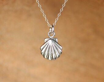 Silver shell necklace - tiny shell necklace - sea shell - scallop necklace - a sterling silver clam shell on a sterling silver chain