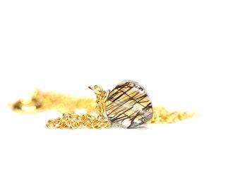 Rutilated quartz necklace / heart necklace / crystal necklace / tiny / dainty / feminine / bridal jewelry