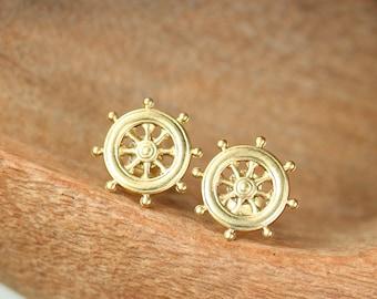 Ship wheel earrings - Captains wheel earrings - nautical stud earrings - wheel earrings - gold stud earrings